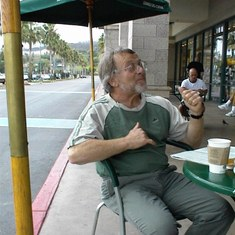 Sam telling us all a story at the local Starbucks. We miss you Sam.