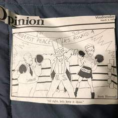 Political cartoons Scott drew for the Paola school paper.