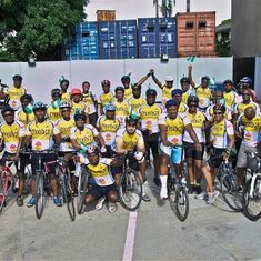 Seyi loved cycling as Elder Statesman with his Cycology Family.  Can you spot him exuberantly holding my hand high?