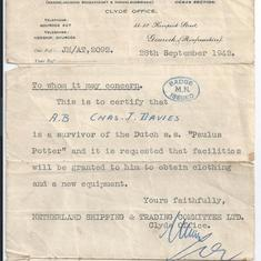 After the sinking of the 'Paulus Potter', Charles was issued a certificate that entitled him to be issued with fresh clothing and new equipment.