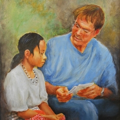 Charles painted Cliff Richard in his role as an ambassador for Tearfund, this was to be his last painting completed at age 90. It is to be auctioned and the proceeds will go to the Tearfund charity.