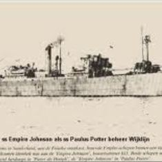 This is the 'Paulus Potter', the ship that Charles was sailing on as part of the war relief effort taking supplies to Russia. It was part of the infamous PQ17 convoy where it was disabled by the German airforce and sunk by a German U-Boat in the summer of