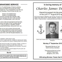 Order of Service - Front and back pages