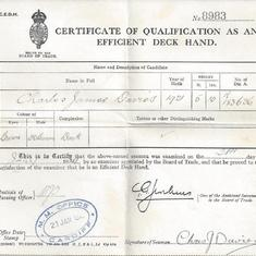 Charles joined the Merchant Navy as a galley boy and then slowly made his way up through the ranks to a bosun. This is his deckhand certificate.