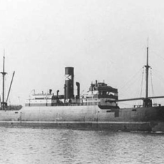 The SS Haulerwijk, a Dutch merchant ship that Charles served on in 1940. It was struck by a torpedo and sank. Charles, a trained gunner, tells of the loaded gun giving a final salute as the ship sinks to the bottom of the ocean.