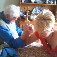 Charles was always keen to show off his arm wrestling prowess in his younger days, in his old age he would only take on women half his age. Daughter-in-law Karen decided it was time for a challenge, watch the video to see how she fares!