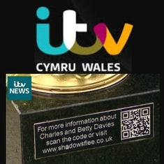 And finally...Charles got a mention on the ITV Wales evening news. To see the report showing the QR code on the headstone being used, click on the stories section of this website.