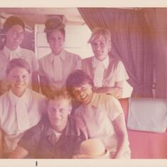 1972 in Viet Nam, was invited on plane by Sharon and her Pan Am Stewardess friends.As I was in the Air Force over 20 years got to see Sharon often. She even brought our parents to Holland.