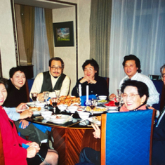 one of the many dinners in Shirley's apartment in Shanghai
