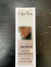 Souvenir book mark from the funeral service of Sime Radic.