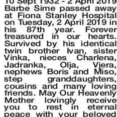 The Obituary posted in the Western Australia newspaper.