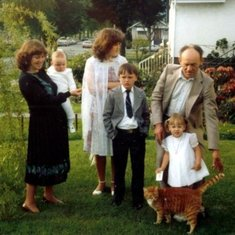 Identical twin brother in Vancouver BC Canada Ivan Radic, Heather, stepdaughter Christina and stepson Alex, daughter Charlena and son Stevie taken after Baptismal Croatian church 1981.