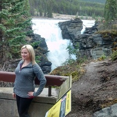 Stacey on a trip to Athabasca Waterfalls in Jasper National Park