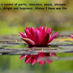 Her heart was as pure as water lily. She was an innocent, peaceful, and delightful lovely lady who was fun to be around.