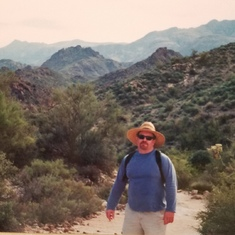Sharing his treasured trails and teaching me @ cacti, First Water Trail, Tonto Nat'l Forest, AZ 2000