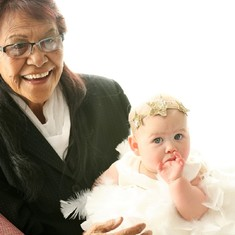 Nan on my wedding day with my youngest daughter, Aurora