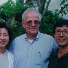 "Tom with ""Jennifer"" Suh and ""Chris"" Suh, the San Francisco's Institute's first International Scholar--a program initiated by Jean Kirsch following travels to Asia with Tom. The Program has nurture a number of distinguished therapists who have become analy"