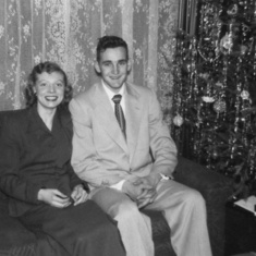 Rena and Tom at his parents' house, Christmas 1950