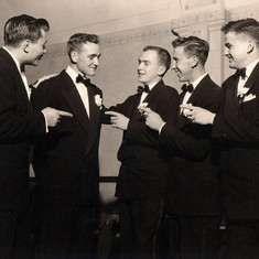 """You're the one!"", Tom with groomsmen, October 20, 1951"