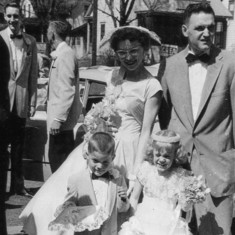 Rena, Tom, Mark & Peggy at wedding of sister Cathy to Gene Simpkins, April 19, 1958