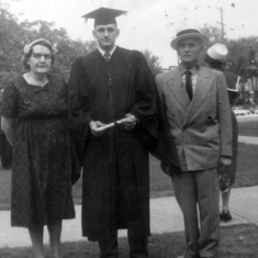 Tom with parents at his college graduation, August 1959