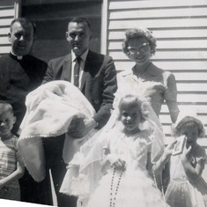 Kevin's baptism and Peggy's First Communion, June 1960, Cambridge, MN