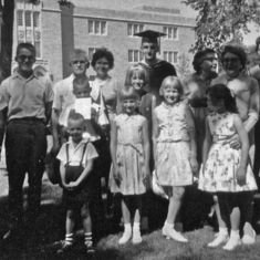 Graduation from St Thomas MA course, June 1964, with family, parents, mother-in-law Lucille, sister Cathy, and Evans family