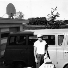 Tom heading off to work at his farm at Cleve Van Dyke's, August 1967