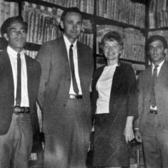 Tom and Rena at library of Instituto Las Casas, where kids attended school. Aurelio Silva on right. June 1969