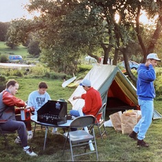 Tim in his high school letterman's jacket. Camping with the boys in Wales