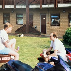 Chillin' at the dormitory courtyard on a nice sunny day in England at RAF Alconbury