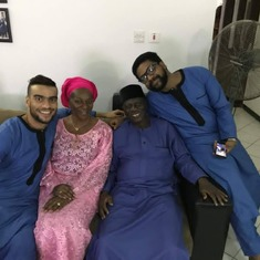 Baba with Grandma Rennie, Iyiola and Dami at the naming ceremony of T'araoluwa