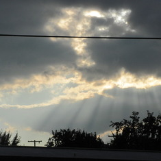 The sun rays as we left her Celebration of life Service.