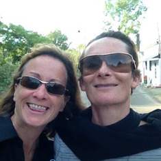 Lady Hawkins and Kristine on pedicab in Ptown heading for birthday dinner