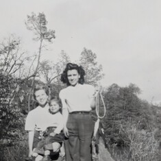 Trudy with her daughter Evelyn and sister-in-law Marie; Putah Creek, CA 1948