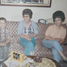 Trudy hanging out with her son John and mother-in-law Pearl in Pleasant Hill, CA; early 1960's