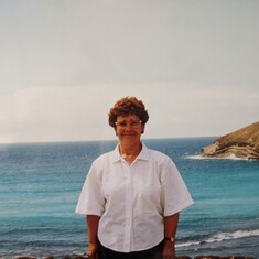 Trudy in Oahu, Hawaii, Summer 1990. She said the trip was one of the highlights of her life!