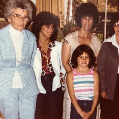 Trudy looking groovy with mother-in-law Pearl, granddaughters Denise & Marcy, and daughter Evelyn; Martinez, CA 1979