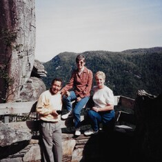 "Mike & Val with Gail Dubay at ""Devil's Head"", Chimney Rock State Park, NC; April 1997."