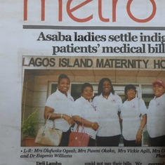 May 2018 ALL charity visit led by President Mrs Vickie Agili with some members to Lagos Island Maternity. Covered and reported in Punch newspaper.