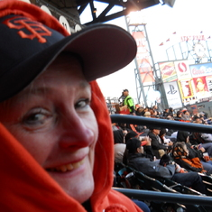 Freezing with Barbara at a Giants game.