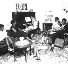 Al, Bettye on piano, Carolyn sitting in the middle of living room and Myra to far right sitting on the arm of chair...pic from mid 1940's courtesy of - cousin Al