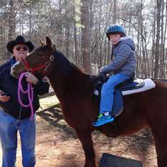 2014 - Skip as High Meadows pony helper with oldest grandson