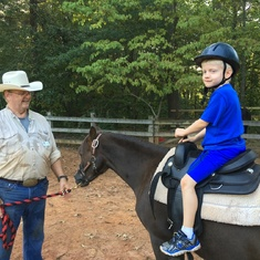 2016 - pony ride with 2nd oldest grandson at High Meadows School