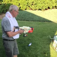 Squirt gun fight at Pappy's 74th