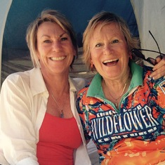 Laughing and sharing great times together.  Suzie & Wendy at Wildflower 2015