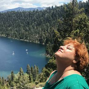 Wendy at Lake Tahoe on her birthday, 2018. One of her favorite destinations