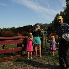 Werner with Shannon's girls visiting the horses