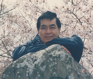 WS on Rock w Cherry Blossom_Japan 1998_Age 59
