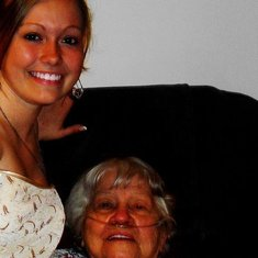 Look at you!! You look like a million bucks, Mamaw. Oh, to sit on your lap again..just one more time. I'd give anything to relive just this one small memory with you. My very first homecoming. <3